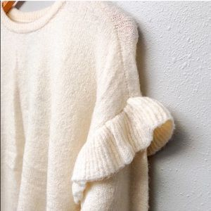 Cream Ruffle Sleeve Pullover Sweater